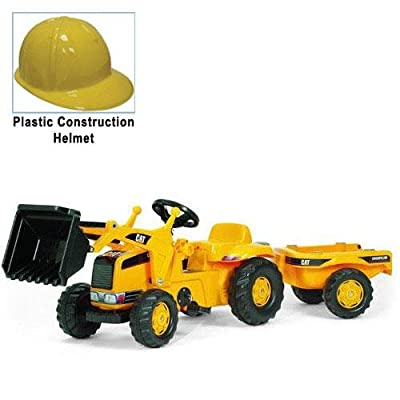 KETTLER 023288 CAT Kid Tractor with Yellow Plastic Construction Helmet: Toys & Games