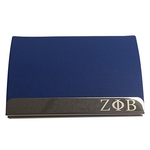 G383 Zeta Phi Beta Laser Engraved Business Card Holder with Leather ()