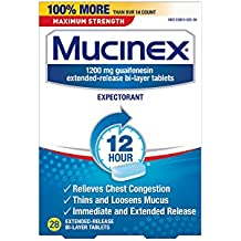 Mucinex 12 Hr Max Strength Chest Congestion Expectorant Tablets, 28ct