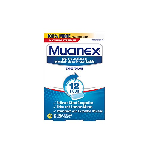 Chest Congestion, Mucinex Maximum Strength 12 Hour Extended Release Tablets, 28ct, 1200 mg Guaifenesin with extended relief of  chest congestion caused by excess mucus, thins and loosens ()