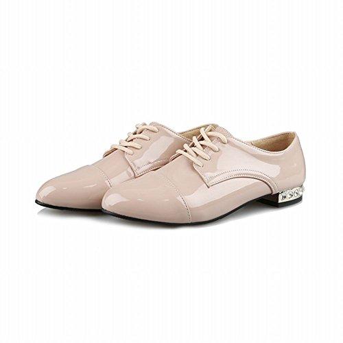 Show Shine Womens Fashion Low Chunky Heel Oxfords Shoes Beige GO4c5nGTv