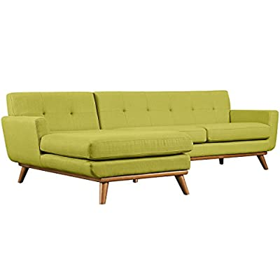 Modern Contemporary Left-Facing Sectional Sofa, Green, Fabric