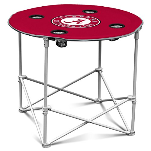 Logo Brands Alabama Crimson Tide Collapsible Round Table with 4 Cup Holders and Carry (Alabama Tailgate)
