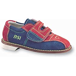 BSI Girls Suede Rental Bowling Shoes- Hook and Loop (11 Childrens MUS, Red/Blue)