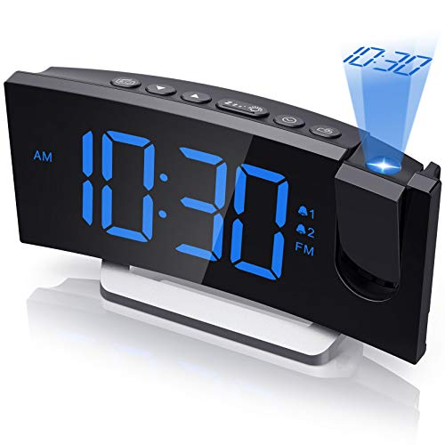 Mpow Projection Alarm Clock, Digital Bedroom Clocks Radio with USB Charger, 0-100% Full Range Brightness Dimmer, Dual Alarms with 5 Sounds for Heavy Sleeper, Snooze, 5.5'' Large Curved LED Display
