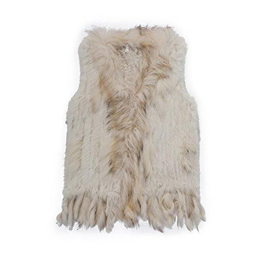 (Warm Winter Mongolian Real Rabbit Fur Vest Jacket for Women(White,M))