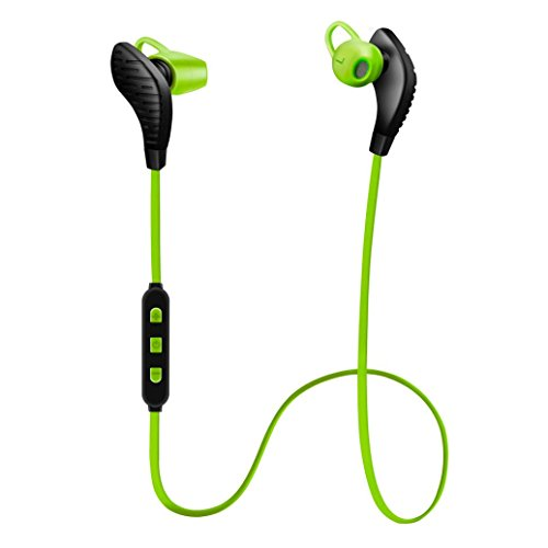 Price comparison product image Bluetooth Headphones,EarTime Lightweight Wireless V4.1 Sport Stereo In-Ear Noise Cancelling Earphone for iPhone 7 Samsung Galaxy S7 LG and Android Phones (Green)