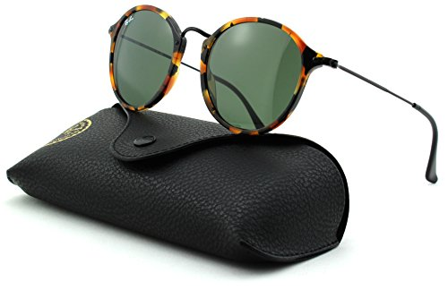 Ray-Ban RB2447 Unisex Round Sunglasses (Spotted Black Havana Frame/Green Lens 1157, - Made In Ban Ray Italy