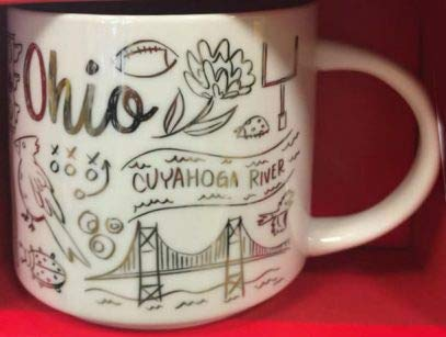 Starbucks 2018 Christmas Limited Edition OHIO Been There Series ACROSS THE GLOBE COLLECTION Ceramic Coffee Mug, 14 Fl Oz Capacity