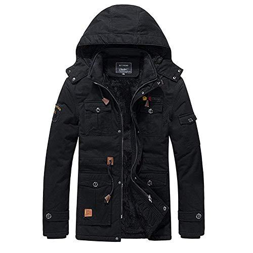 Capuche Manteau poches Simple Schwarz Jacket Style À Multi Avec Cordon Parka Épaissie 7z8Bpczf