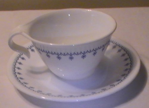 Corelle Snowflake - Corelle Snowflake Blue Hook Handle Cups & Saucers - Set of 4 Ea.