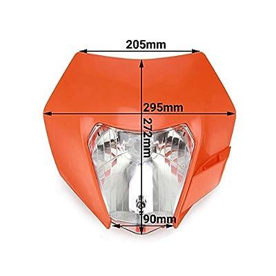 Universal Headlight Head Lamp Light Fairing Street Fighter Mask Day Running Light Turn Signal Lights For KTM EXC250 SX250 SXF250 EXC450 SX350 SXF450 EXC525 640LC4 - Orange: Automotive