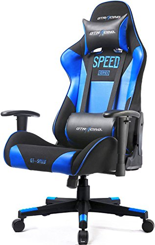 Cheap GTRACING Gaming Chair Racing Chair Backrest and Height Adjustable E-Sports Chair Ergonomic Computer Office Chair Furniture with Pillows (Blue)