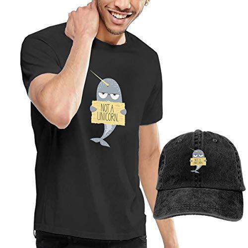 Novelty Baseball Hat & T-Shirt Bundle, Cotton T Shirt Solid Short Sleeve Tee Top T-Shirt Adjustable Cap Adult Black Tee Shirt I'm Not A Unicorn Narwhal