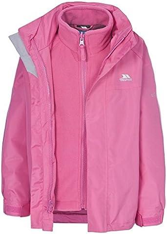 3-4 Years, Petal Pink KIDS TRESPASS SKYDIVE 3-IN-1 WATERPROOF JACKET BOYS GIRLS CHILDS CHILDRENS FLEECE LINED RAIN COAT