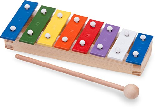 New Classic Toys - 10221 - Musical Toy Instruments - Metallophone with Music Book - Pocket - 8 Bars - Multicolor