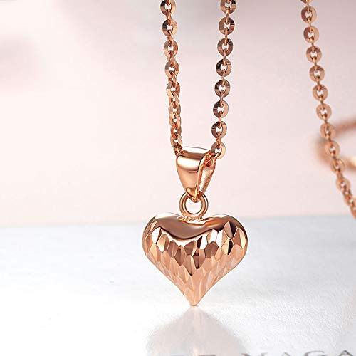 Romantic 18K Pure Gold Heart Pendant Genuine Charm Necklace AU750 Fine Engagement Wedding Jewelry for Women Girl