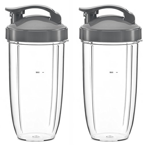 Preferred Parts, 2-Pack 32oz Replacement Cups with Flip Top To Go Lid for NutriBullet 600w and Pro 900 Blenders