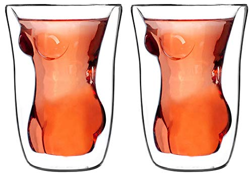 Set of 2 3D Sexy Women Lady Drink Insulated Cool Beer Shot Glass for Highball Whiskey Cocktail Wine Vodka Mug Home Halloween Party Bar Water Liquor Tea Cup Juice Beverage -