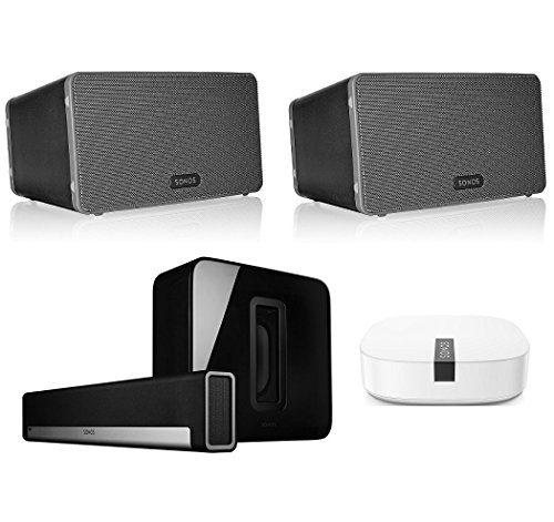 Sonos Multi-Room Digital Music System Bundle (PLAYBAR, (2) PLAY:3 Speakers – Black, Wireless Subwoofer – Black, and BOOST)