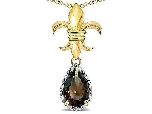 Star K Pear Shape 8x6mm Genuine Smoky Quartz Fleur De Lis Pendant Necklace 18k Yellow Gold ()