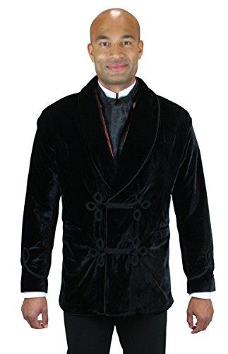 Vintage Black Velvet Blazer Jacket (Historical Emporium Men's Vintage Velvet Smoking Jacket XL)