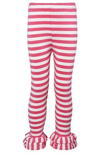 Ipuang Girl's Cotton Ruffle Hem Stripe Leggings Pink 5 -