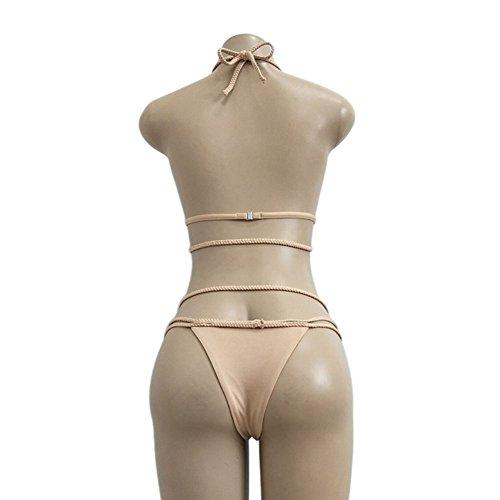 Cinghia Da Pezzi Xinvision Bachwear Costume Sexy Bacdage Grigio Donne Femminili Due Bagno Bikini A Nuova 0qfAPxS