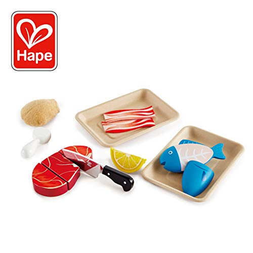 Food Proteins - Hape Tasty Proteins Wooden Play Food Set, 9 Pieces, Multicolor