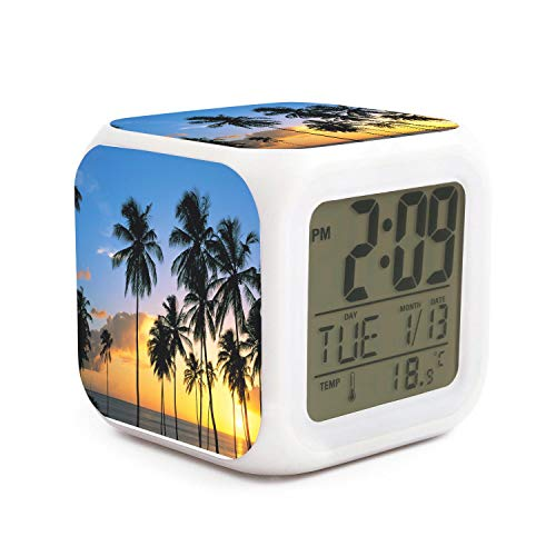 JWOJJUAW Wake Up Sunset Palm Tree Dimmer Snooze LED Nightlight Bedroom Desk Travel Digital Cool Alarm Clock for Kids Girls