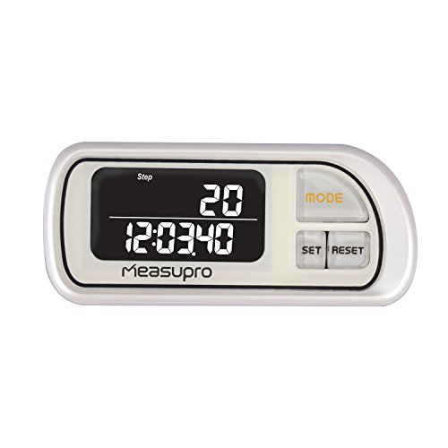 MeasuPro Automatic Smart Sensor 3D Walking Pedometer Distance Fitness Tracker w/ 30 Day Memory, Clip-On Holder, Step Counter for Walking, Hiking, or Other Activities, Lanyard and Large Display, White