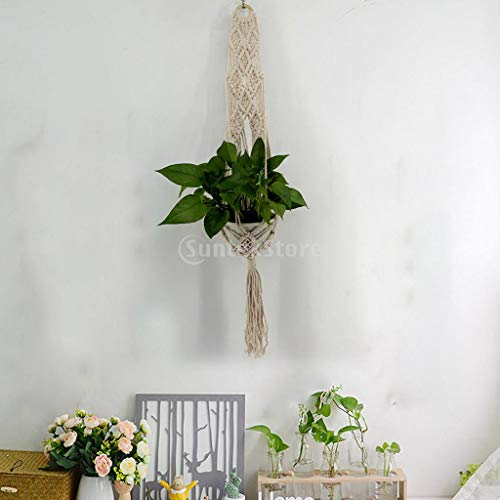 Hanging Baskets - Garden Outdoor Cotton Rope Plant Hanger Handwoven Knit Planter Pot Flower Hanging Basket 24 35inch - Paper Blue Seeds s Clothes Food Laundry Rope Baskets Stand Toile