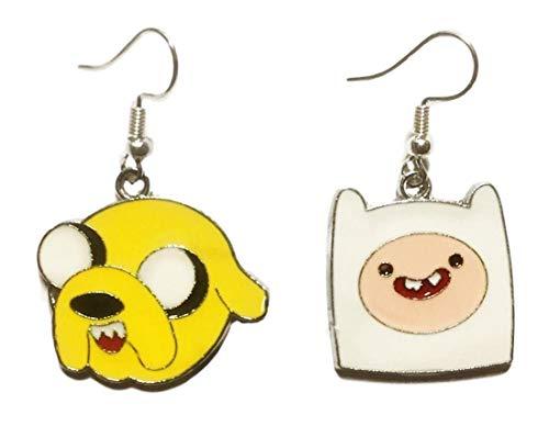 Adventure Time Jake and Finn Enamel Metal Dangle French Wire Earrings ()