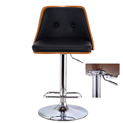 Contemporary Bentwood Bar Stool Adjustable Height 360 Degree Swivel Durable Button Tufted Design PU Leather Upholstery Seat Stable Footrest Chrome Steel Frame Pub Chair New - Canada Toronto Tax Sales