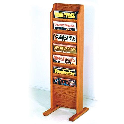 Wooden Mallet 7-Pocket Cascade Free-Standing Magazine Rack, Medium Oak
