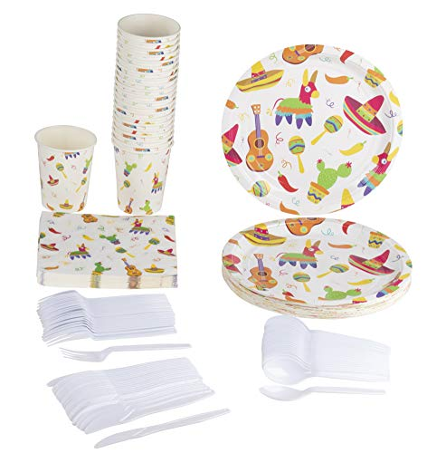 Disposable Dinnerware Set - Serves 24 - Mexican Fiesta Party Supplies for Birthdays, Cinco de Mayo - Includes Plastic Knives, Spoons, Forks, Paper Plates, Napkins, Cups]()
