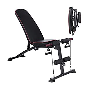 Streakboard Weight Bench, Adjustable Strength Training Exercise Bench Press, Foldable Incline Decline Utility Bench for Full Body Workout W/ 7 Position, 2 Elastic Rope for Home Gym , 330LBS Max Load