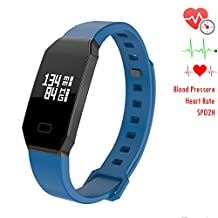 NEWYES NBS07 Blood Pressure Smart Watch Fitness Tracker Woman Smart Bracelet with SPO2H Heart rate monitor Sleep Management Pedometer for Android IOS Smartphone (blue)