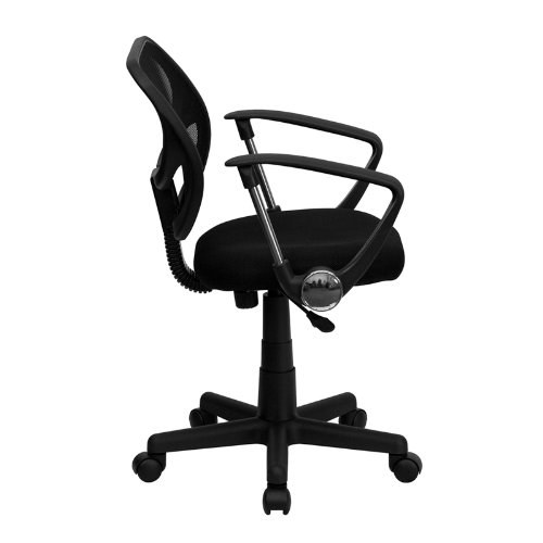 StarSun Depot Mid-Back Black Mesh Swivel Task Chair with Curved Square Back and Arms 21.5'' W x 22.5'' D x 30.5'' - 34.5'' H