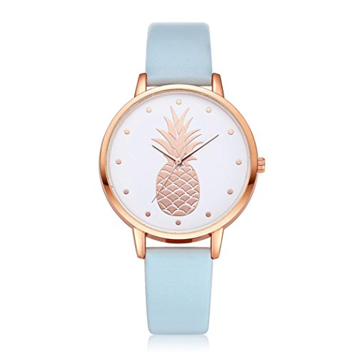 Swyss Women's Simple Fashion Watch Cute Pineapple Pattern Dial Leather Analog Quartz Wrist Watch Chic Sweet Style ()