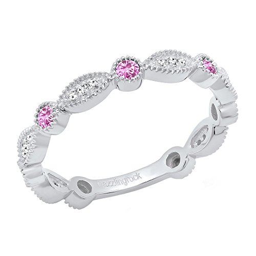 14K White Gold Round Pink Sapphire & White Diamond Ladies Stackable Wedding Band Ring (Size 6) (Round Pink Sapphire Ring)