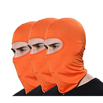 Pack of 3 Winter Outdoor Sport Orange Ski Mask Hunting Fishing Motorcycle Masks Ventilation Sun Balaclava Thin Face Mask: Automotive