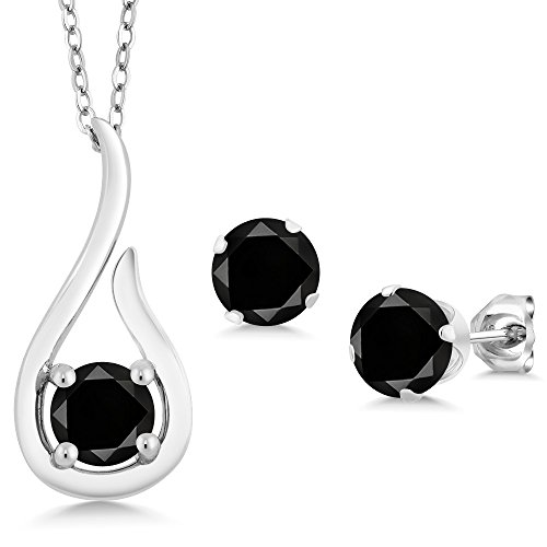 1.65 Ct Round Black Diamond 925 Sterling Silver Pendant Earrings Set With Chain