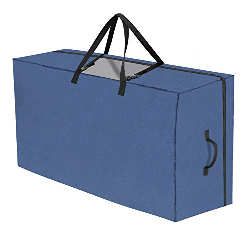 SURPCOS Folding Mattress Storage Bag Heavy Duty Carry Case for Tri-Fold Guest Bed Mattress (Fits Up to 6 inches Queen Mattress, Navy)