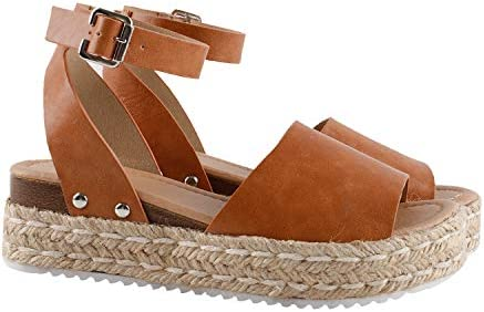Gnpolo Womens Wedge Sandals Brown