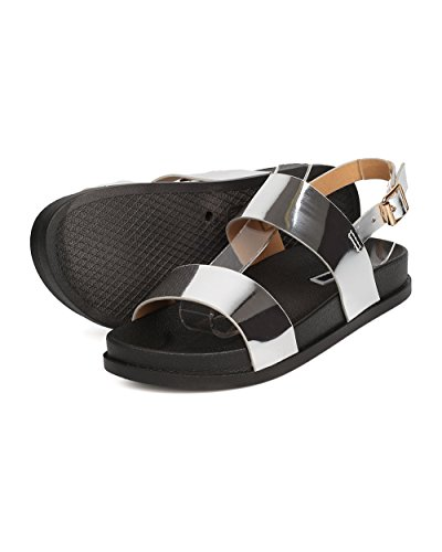 CAPE ROBBIN Women Metallic Leatherette Footbed Sandal - Casual, Everyday, Pool - Slingback Sandal - GD13 by Silver