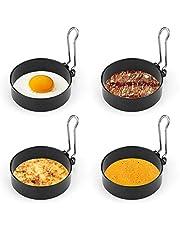 yidenguk RVS Eierringen, 4Stks Antistick Eierringen met Vouwgrepen, 7.5cm/2.95inch Poachette Ringen voor Gebakken en Gepocheerde Eieren Crumpets Rundvlees etc, Zwart