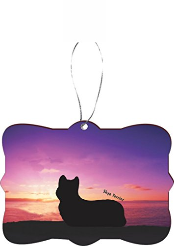 Rikki Knight RKWS-SQORN-41303 Christmas Tree Ornament / Car Rear View Mirror Hanger Skye Terrier Dog At Sunset Design