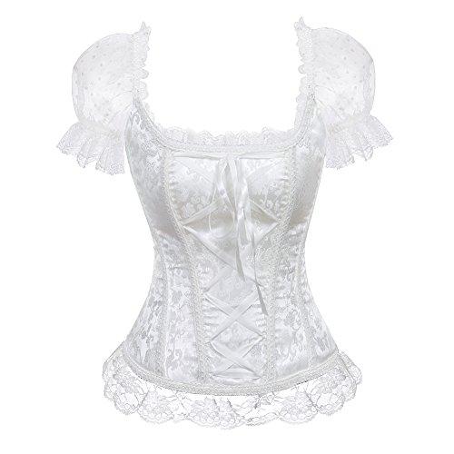 Lace Trim Corset (AIZEN Womens Floral Lace Trim Corset Overbust Victorian Waist Cincher Shoulder Straps Bustier Wedding Top Sexy White L)
