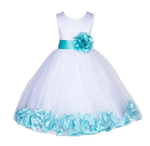 Wedding Pageant Floral Lace top Rose Petals White Tulle Flower Girl Dress 165T 6 (Tulle Petals White Dress Satin)